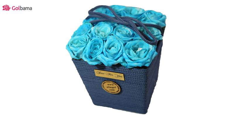 گل رز آبی - باکس گل تبریک نوزاد