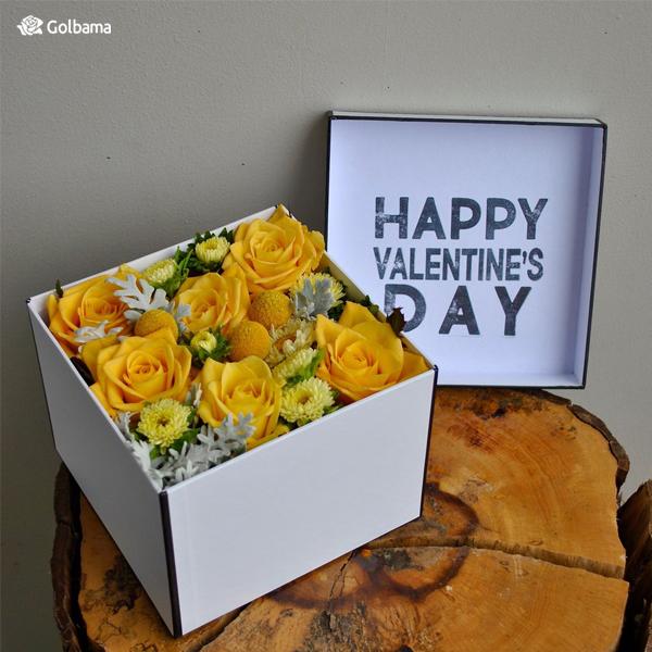باکس گل رز زرد ولنتاین